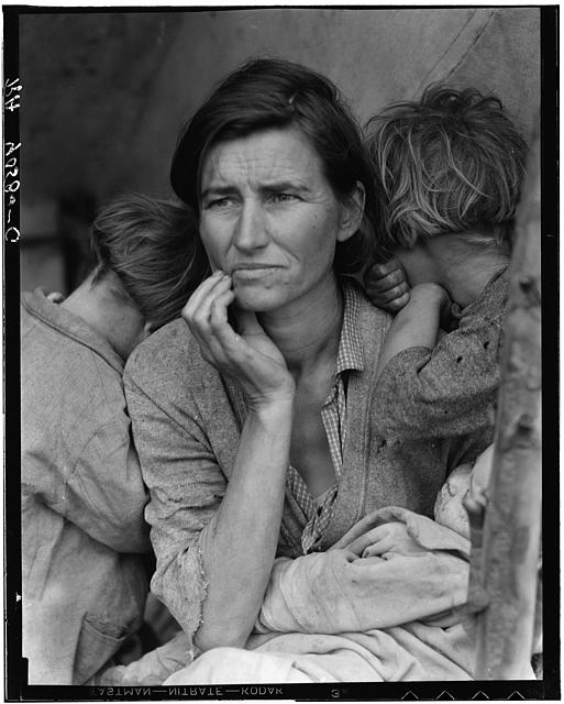 Dorothea Lange captured the pain of a migrant mother whose children had been living on frozen vegetables from the surrounding fields and birds they killed. She had just sold the tires from her car to buy food.